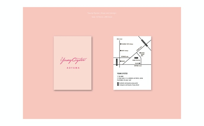 YoungOyster AOYAMA Shopcard & neon design.