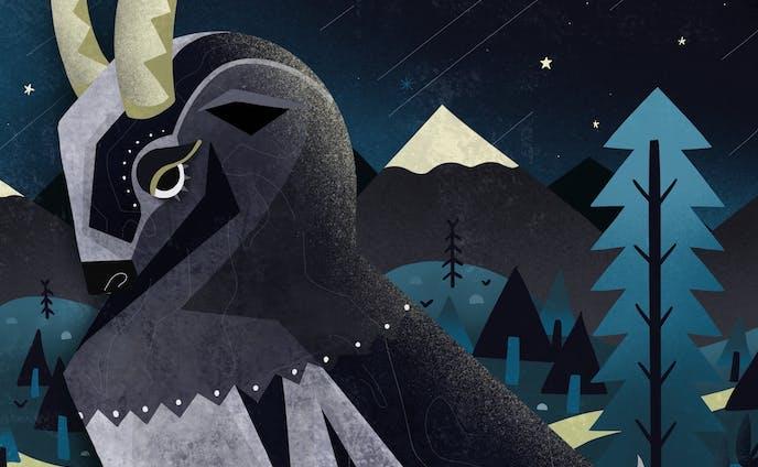美しい動物と夜の森