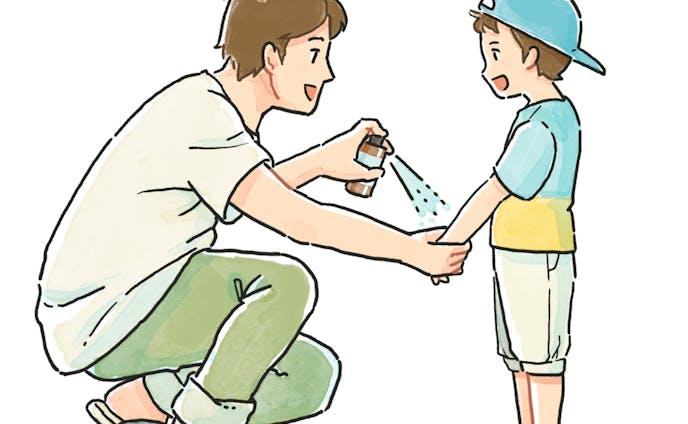 虫除けアロマスプレーを子供に使う父親