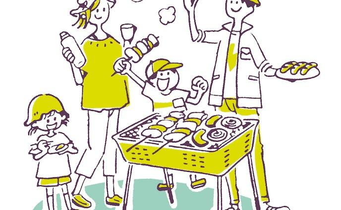 BBQをする家族のイラスト