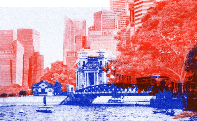 RISO Print: The Development around the Fullerton Hotel, Singapore 1920/2015