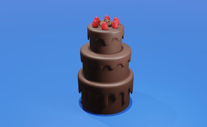 3Dモデリング 3段ケーキ