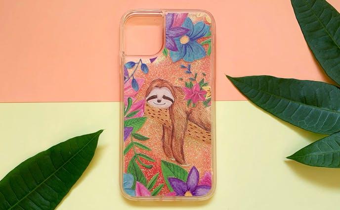 幸せのナマケモノ iPhone グリッターケース