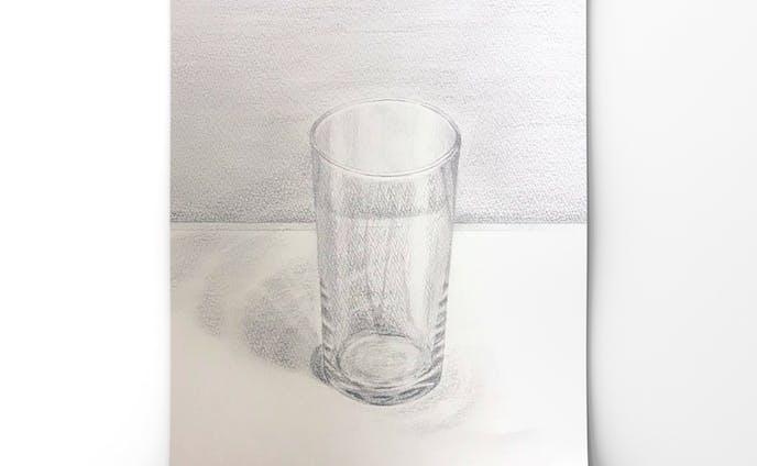 静物デッサン ガラスコップ
