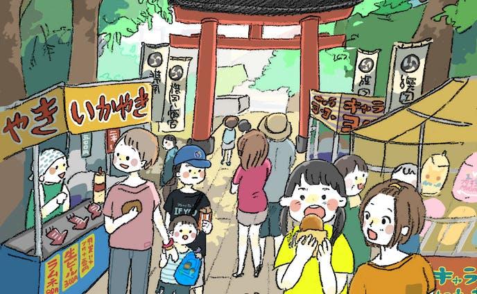 デジタル着彩イラスト お祭りの風景