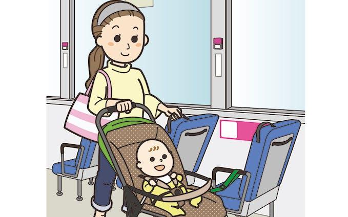 ベビーカーでバスに乗車する際の案内イラスト