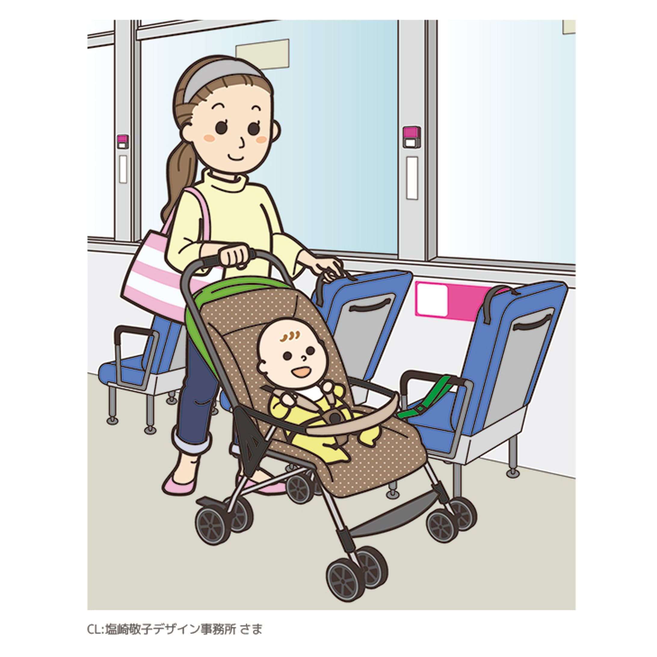 ベビーカーでバスに乗車する際の案内イラスト-1