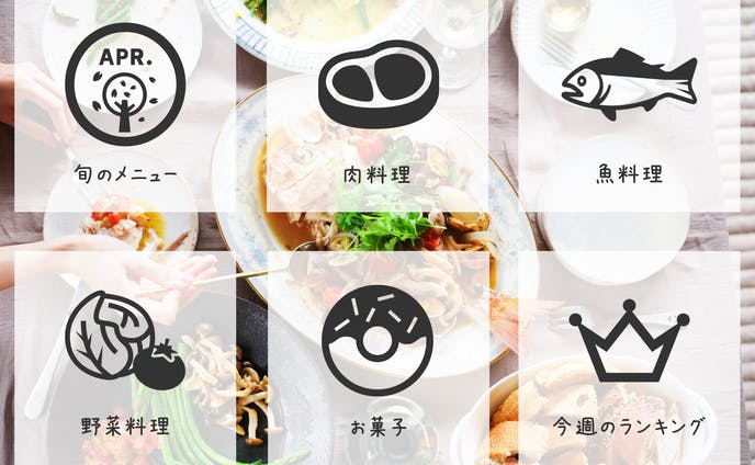 LINE料理レシピアカウントのリッチメニュー