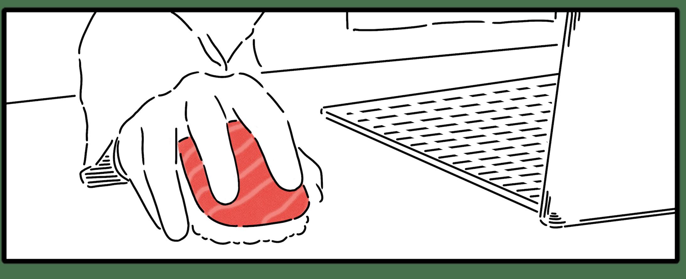 マウスかと思ったら寿司を握っている人のイラスト-1