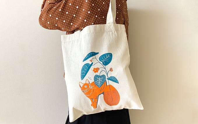 トートバッグ 猫ちゃんと植物 B5サイズ -オレンジ×ラムネ-