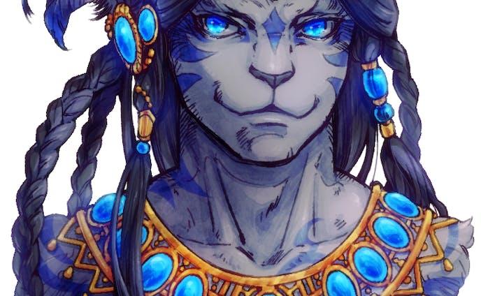 青い宝石を纏う獣人