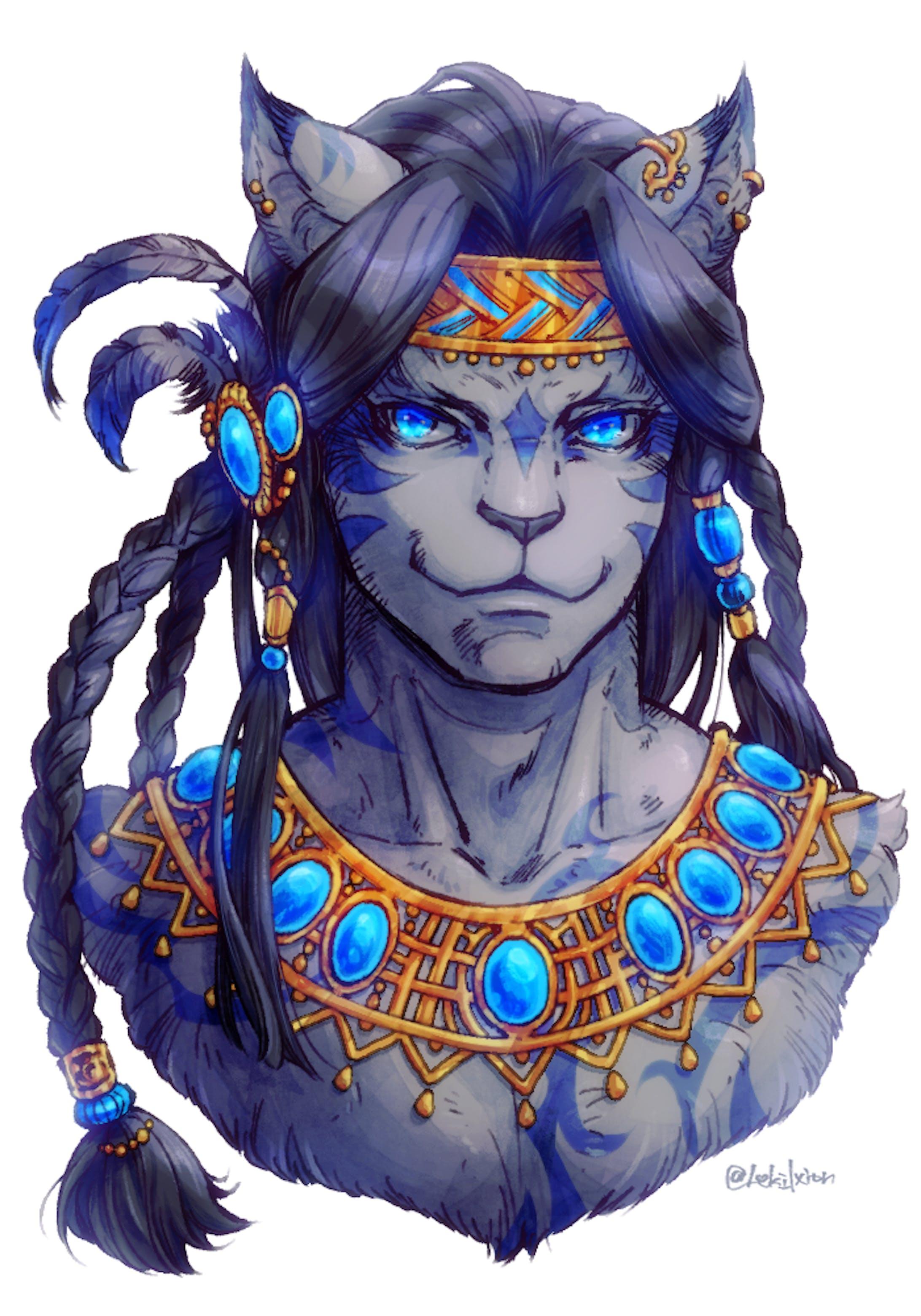 青い宝石を纏う獣人-1