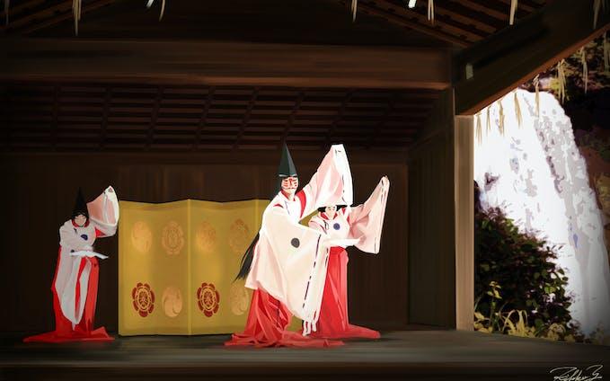狐の神楽舞