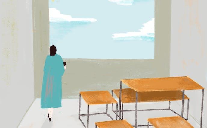 窓、女性、カフェ。