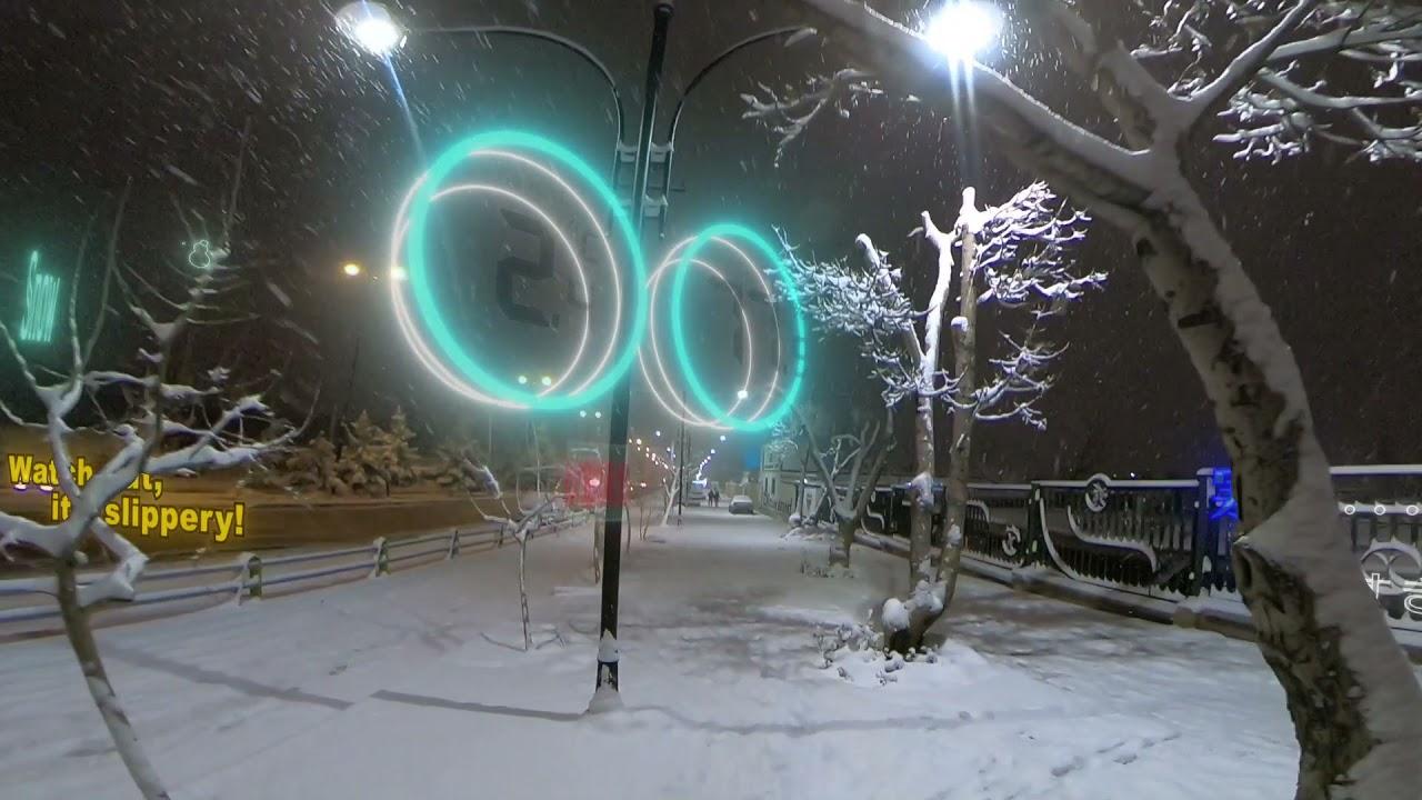 真冬の雪道